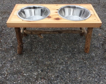 Reclaimed wood Dog Bowl Stand w/ 3 quart Steel bowls