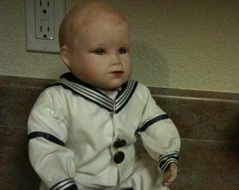 Adorable Vintage Porcelain/Cloth 1987 Knowles Boy Doll - #378OCC