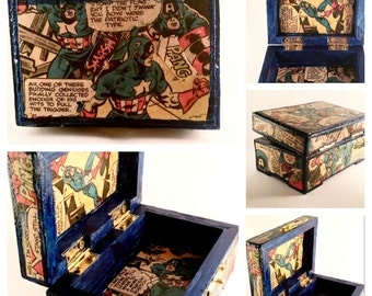 Upcycled Trinket Box featuring Captain America
