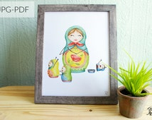 Matriochka printable poster - Watercolor illustration of a mother and her children - Print at home 8x10 or letter format - JPG PDF