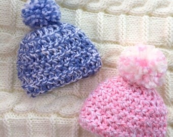 Crochet Newborn Baby Beanie Pink and Blue 0-3 months