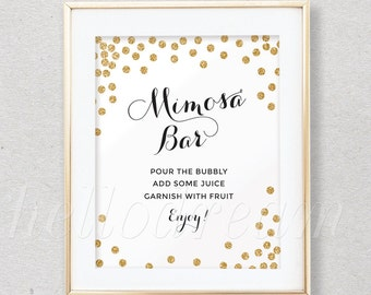 Gold Mimosa Bar Sign, Bubbly Bar Sign,White and Gold Confetti, Wedding Sign- SKUHDG14