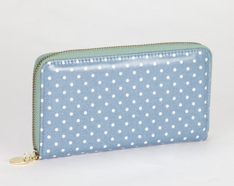 Oilcloth Zip around Wallet- Blue polka dot purse- Oil cloth ladies purse- Vegan Ladies Zip wallet- Coin purse- Laminated cotton- Iphone Plus