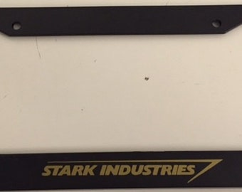 Stark Industries - Black with Gold Industries Automotive License Plate Frame - Super Hero