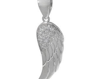 Pave Angel's Wing Pendant/Necklace In Rhodium Or Gold Plated Sterling Silver