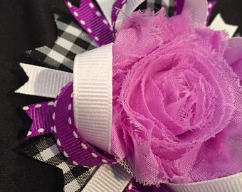 Purple flower & Plaid Hair Bow