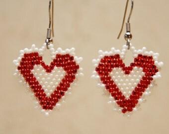 Beaded Lacy Red Heart Earrings