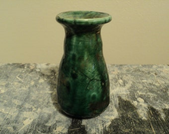 Small Emerald Raku Bottle