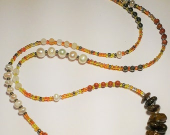 Beaded Multi Gemstone Necklace, natural Baltic Amber, Fresh water pearls, Pyrite and Goldstone beads, Boho Chic Multi Wrap Bracelet, Gift