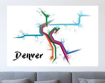 Denver Train Map Poster