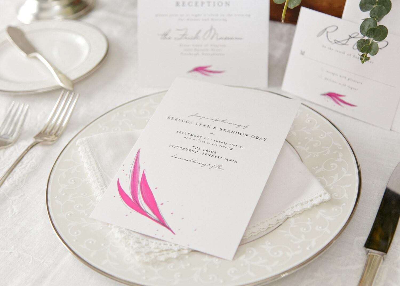 Elegant Wedding Invitations - Minimalist Invitation Set - Pink ...