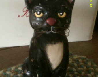 Vintage Shabby Chic Ceramic Black Cat with Wire Wiskers. Great for Halloween!!!