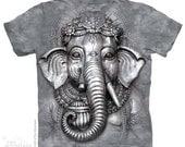 unisex t-shirt big face Ganesh stonewashed multicolored graphic tee