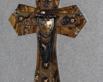decorative cross, SHERIFF CROSS, HANDMADE cross, wooden cross,