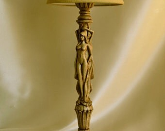 Table lamp made of natural wood