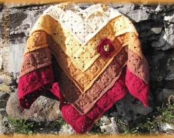 Poncho knitted red ochre ombre spikes mixed crocheted 4t