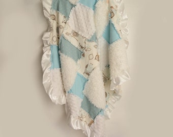 Powder Blue Owl Baby Blanket with Satin Trim