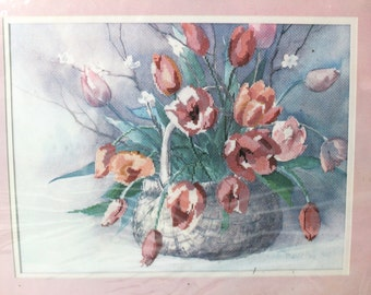 """Vintage Dimensions No Count Cross Stitch Kit - """"Spring Tulips"""" #3614 by Barbara Mock 16"""" x 12"""" Gallery Collection Design Pink Floral Bouquet"""