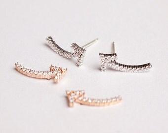 Arrow Silver Earrings,925 Sterling Silver Earrings,Arrow Rhinestone Earrings,Arrow Stud,Rhinestone Stud Earring,Silver Stud,Anniversary Gift