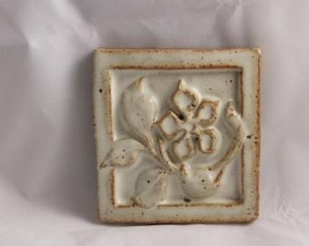 Ceramic Art Tile-flower-white-relief sculture