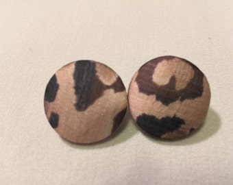 Medium Leopard Print Button Earrings