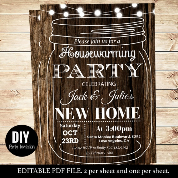 Backyard BBQ Housewarming Party Invitations Mason Jar Housewarming