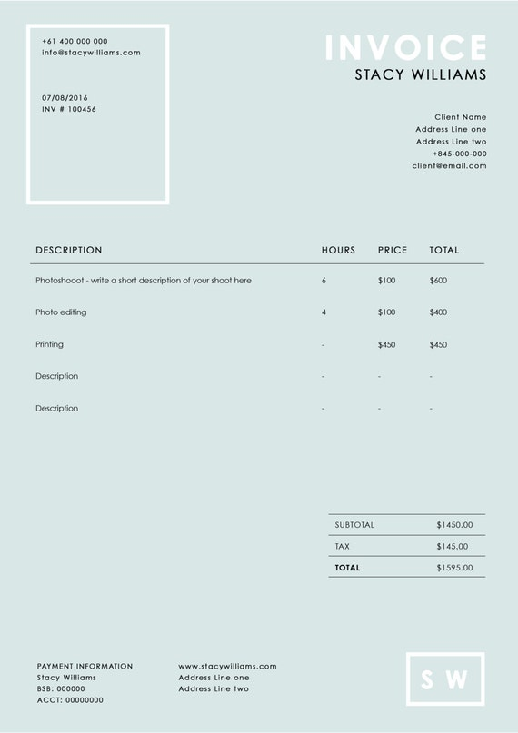 photography invoice template photography receipt ms word. Black Bedroom Furniture Sets. Home Design Ideas