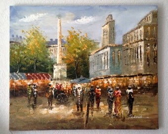 """Vintage, Original Painting, Impressionist Cityscape, Oil painting, Textured, art, on Canvas, Signed, 20"""" by 24"""""""