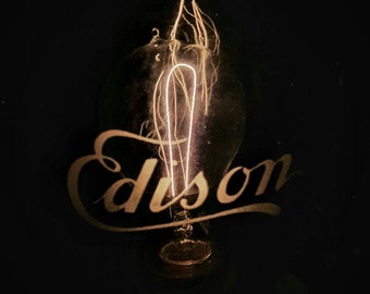 Edison 1879 authentic menlo park lab patent replica lamp. Handmade Carbon filament, lathed - cnc parts. Limited museum 1 of 6