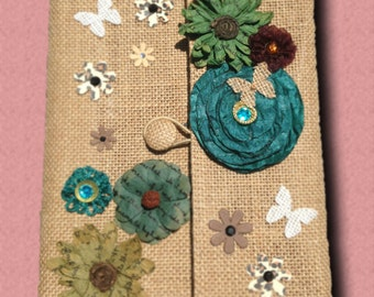 Cool Summer- One of a Kind, Hand-decorated, Refillable, Floral Burlap Journal or Sketchbook