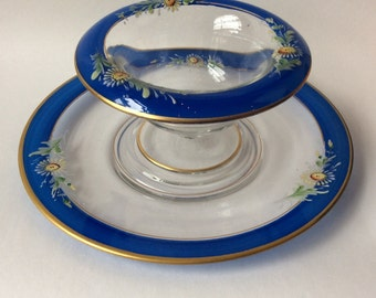 Vintage Footed Dessert Bowl with Under Plate