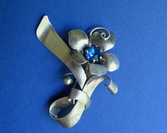 Designer Sterling SIlver Brooch Pin - Signed CA for Carl Art - Blue Accent