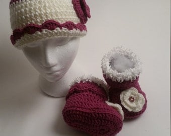 Flower crocheted hat and beanie for three year old girl
