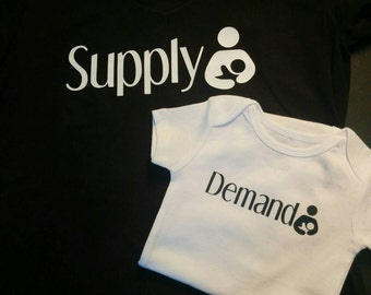 Supply and demand mama and baby breastfeeding shirts