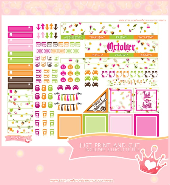 October Month | Printable Planner Stickers | Happy Planner | Instant Digital Download with Silhouette file
