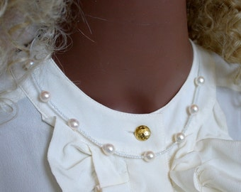 Bride Collie Topaz Akoya pearl necklace bridal necklace Topaz Akoya pearls necklace
