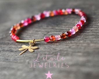 Agate beads and Dragonfly charm bracelet