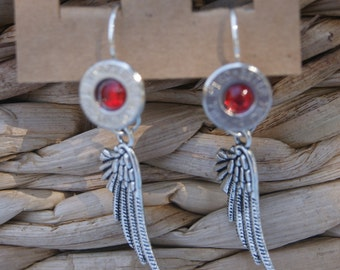 Winchester 7mm bullet and feather earrings