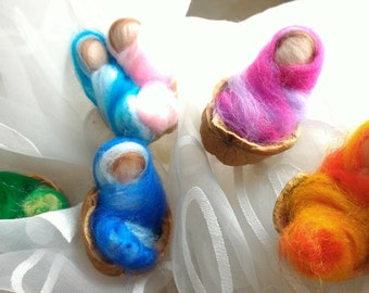 BIRTH carded wool baby laid in real walnut cradle, wedding favor birth