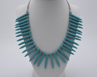 Spiked Turquoise Necklace, with silver crystal accents