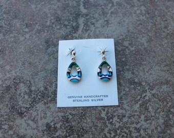 Open Tear Drop Zuni Inlay Multi-Stone Earrings in Sterling Silver