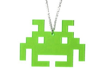 Space Invader Acrylic Necklace