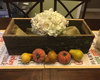 Barn wood planter box centerpiece