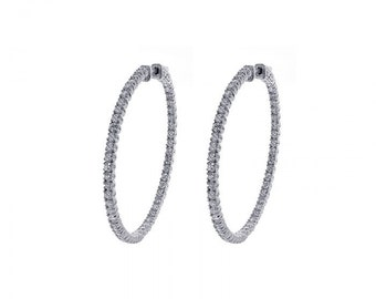 3.00 Carat Eternity Inside Out Diamond Hoop Earrings 14K White Gold