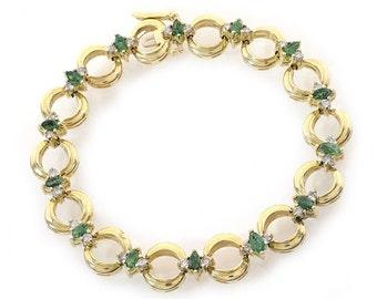 0.50 Carat Diamond and 1.50 Carat Emerald 14k Yellow Gold Link Bracelet