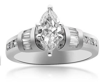 1.13 Carat F-SI2 Marquise Cut Diamond Engagement Ring Platinum