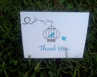 Personalized Wedding Birds Thank you Cards / Note Cards