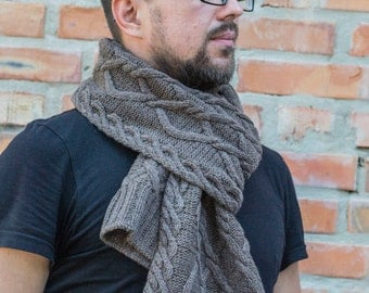 Hand knitted scarf for men, coffee with milk knitted scarf for men, brown melange mens scarf, READY TO SHIP
