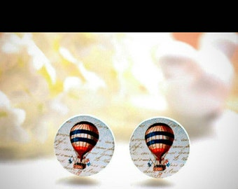 Wooden hot air balloon earrings