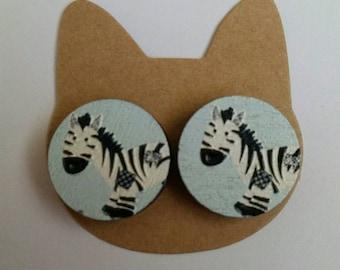 Wooden Zebra Earrings